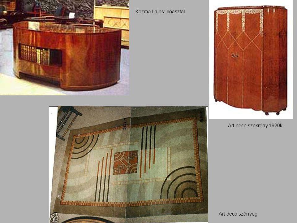 Kozma Lajos: Íróasztal Art deco szekrény 1920k Art deco szőnyeg