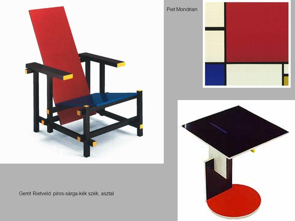 Gerrit Rietveld: piros-sárga-kék szék, asztal Piet Mondrian