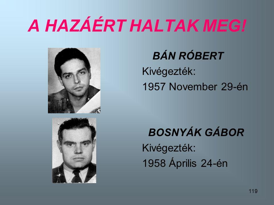 118 A HAZÁERT HALTAK MEG! GÉCZI JÓZSEF Kivégezték: 1958 November 11-én DUDÁS JÓZSEF Kivégezték: 1957 Január 19-én