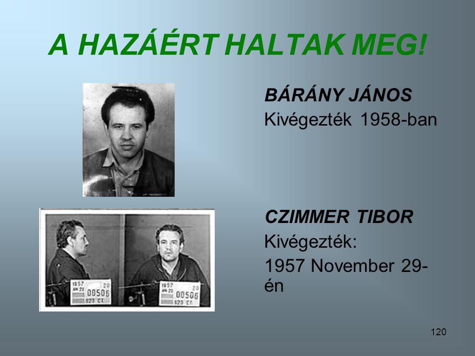 119 A HAZÁÉRT HALTAK MEG! BÁN RÓBERT Kivégezték: 1957 November 29-én BOSNYÁK GÁBOR Kivégezték: 1958 Április 24-én