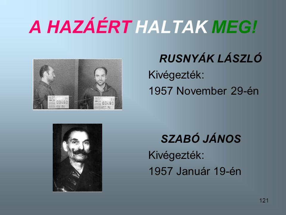 120 A HAZÁÉRT HALTAK MEG! BÁRÁNY JÁNOS Kivégezték 1958-ban CZIMMER TIBOR Kivégezték: 1957 November 29- én