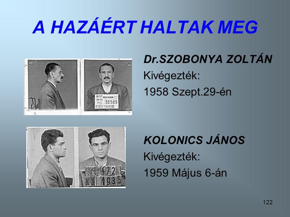 121 A HAZÁÉRT HALTAK MEG! RUSNYÁK LÁSZLÓ Kivégezték: 1957 November 29-én SZABÓ JÁNOS Kivégezték: 1957 Január 19-én