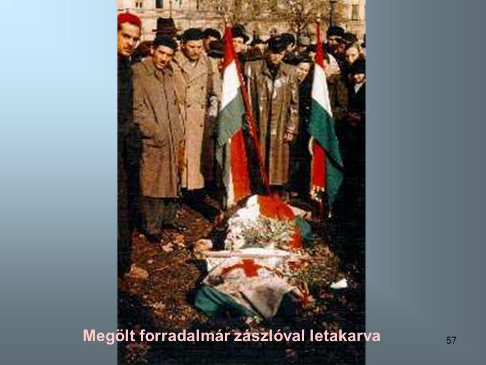 56 Megölt forradalmár zászlóval letakarva