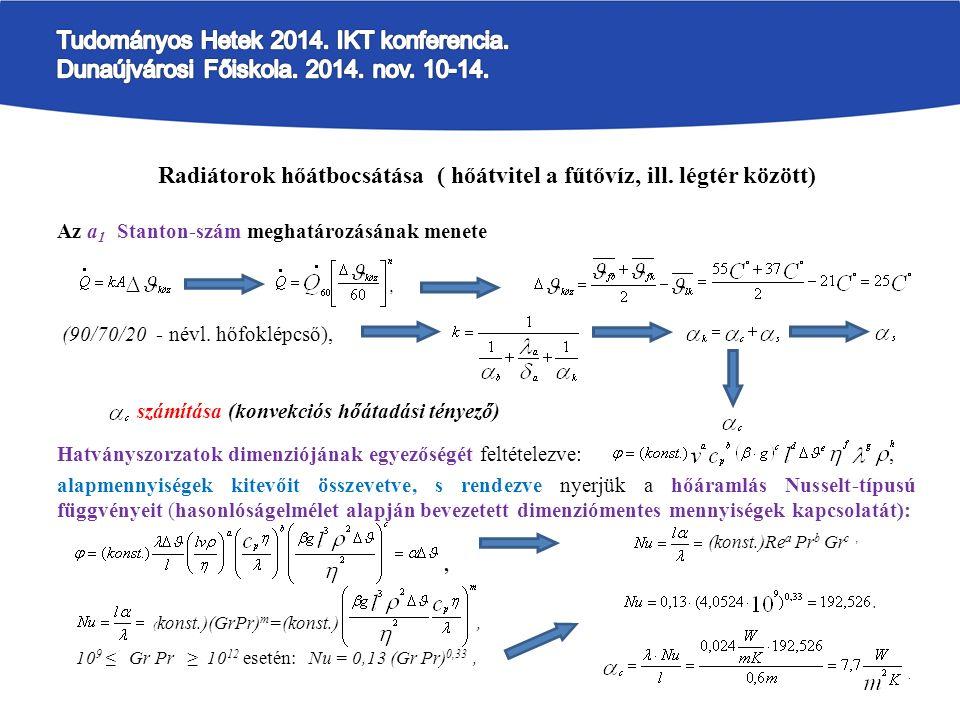 Radiátorok hőátbocsátása ( hőátvitel a fűtővíz, ill.