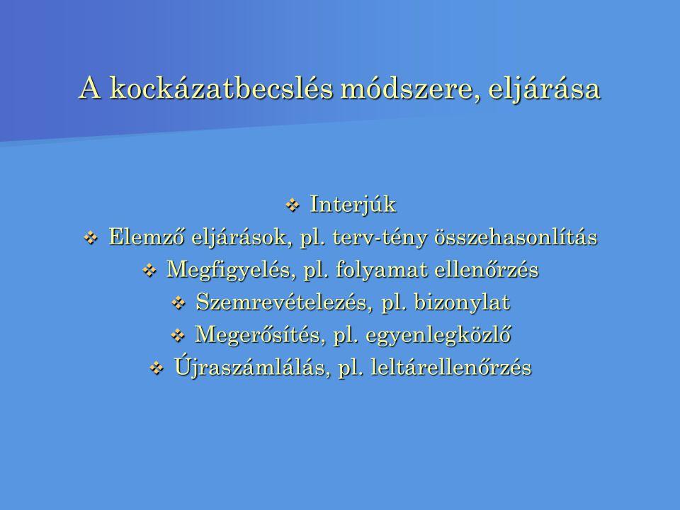 A kockázatbecslés módszere, eljárása  Interjúk  Elemző eljárások, pl.