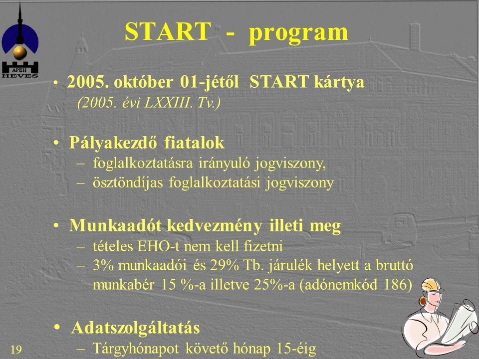 19 START - program 2005. október 01-jétől START kártya (2005.