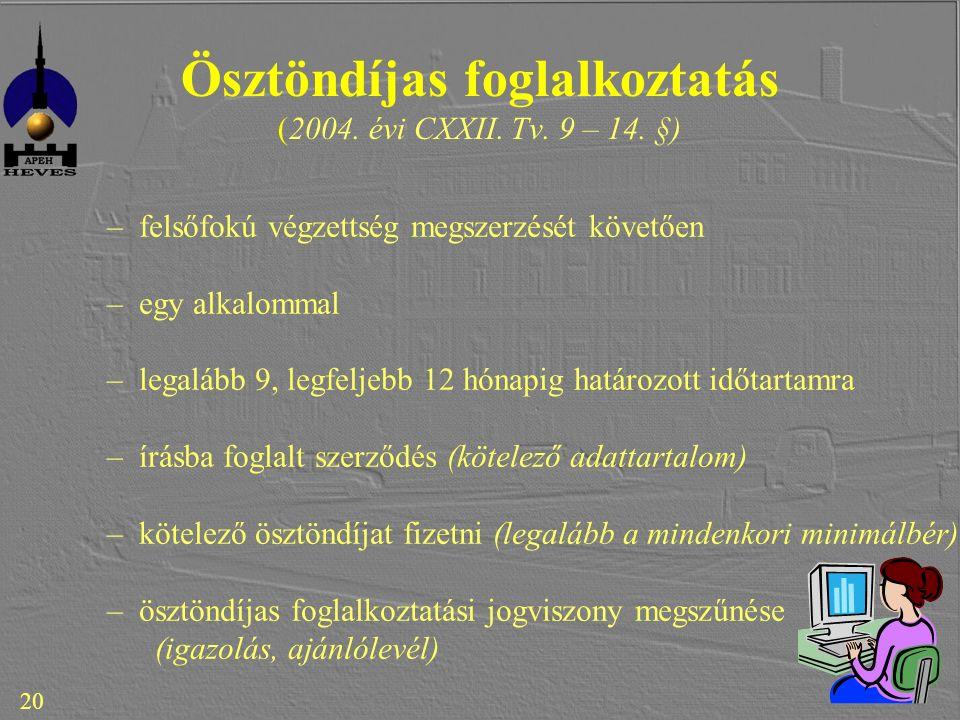 20 Ösztöndíjas foglalkoztatás (2004. évi CXXII. Tv.
