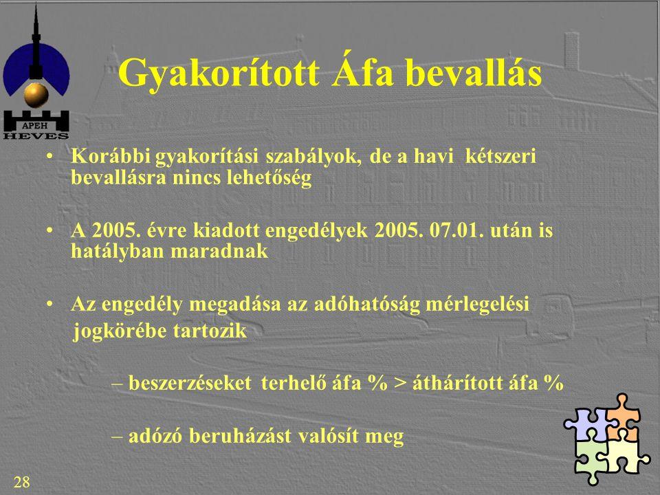 Gyakorított Áfa bevallás Korábbi gyakorítási szabályok, de a havi kétszeri bevallásra nincs lehetőség A 2005.