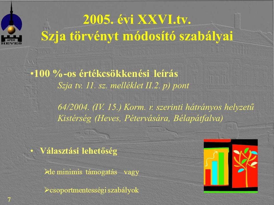 7 2005. évi XXVI.tv. Szja törvényt módosító szabályai 100 %-os értékcsökkenési leírás Szja tv.