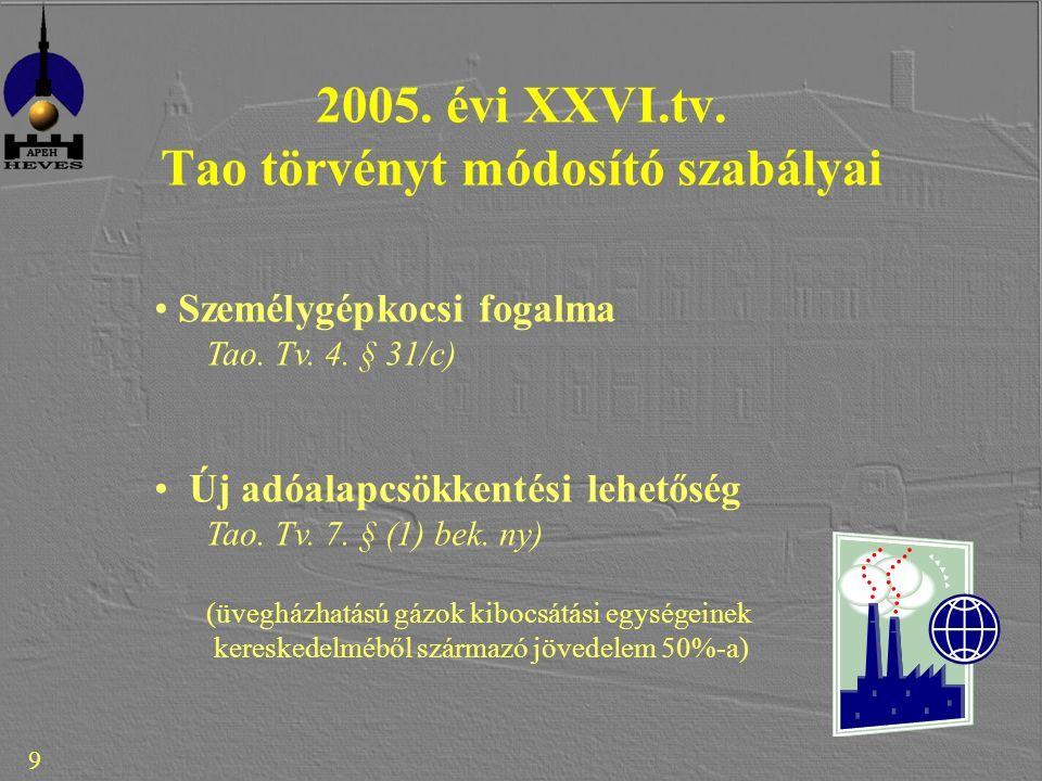 9 2005. évi XXVI.tv. Tao törvényt módosító szabályai Személygépkocsi fogalma Tao.