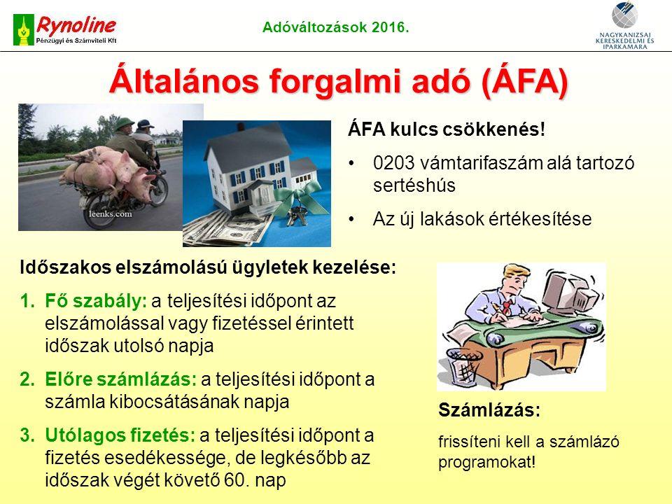 Adóváltozások 2016. Általános forgalmi adó (ÁFA) ÁFA kulcs csökkenés.