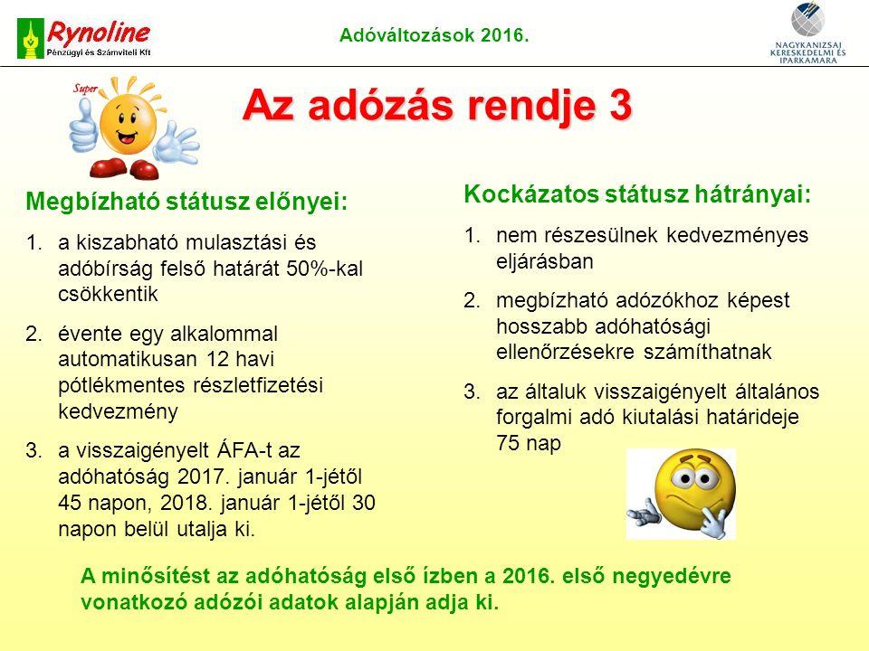 Adóváltozások 2016.
