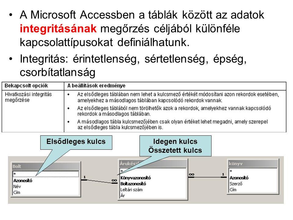 A Microsoft Accessben a táblák között az adatok integritásának megőrzés céljából különféle kapcsolattípusokat definiálhatunk. Integritás: érintetlensé