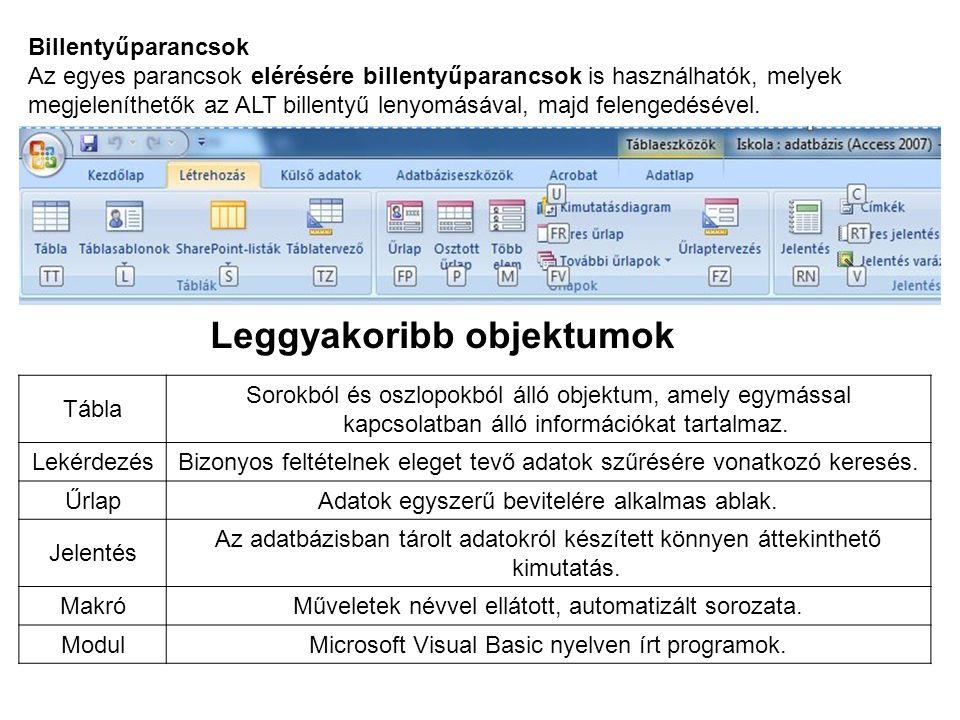 Billentyűparancsok Az egyes parancsok elérésére billentyűparancsok is használhatók, melyek megjeleníthetők az ALT billentyű lenyomásával, majd felenge