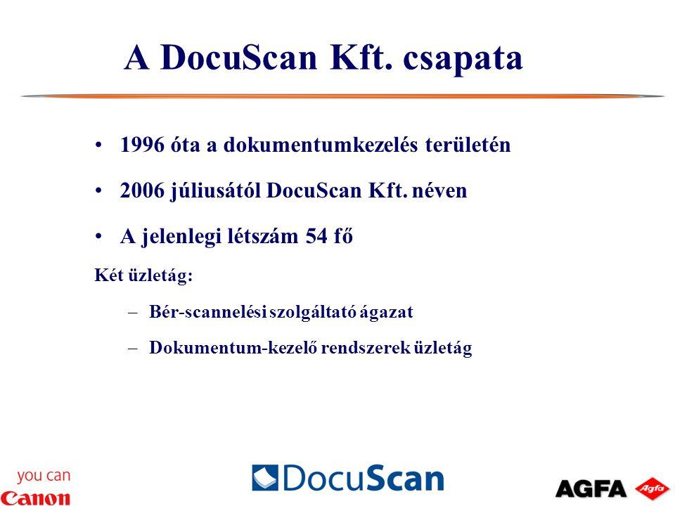 1996 óta a dokumentumkezelés területén 2006 júliusától DocuScan Kft.
