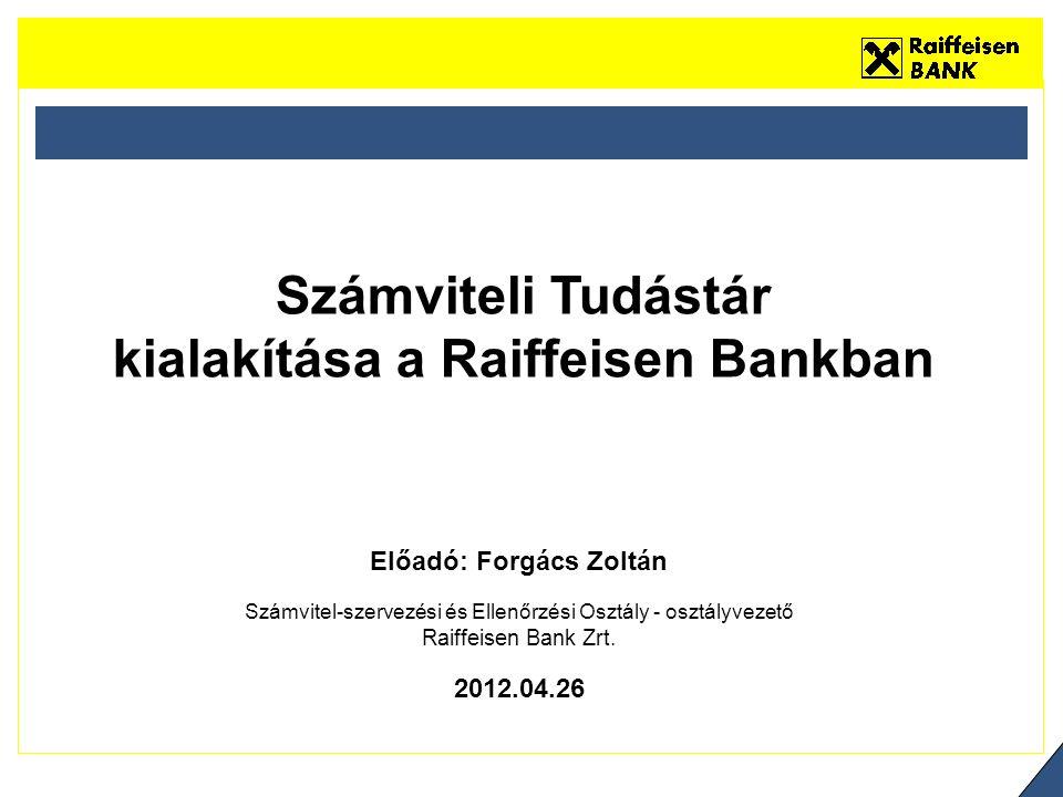 Előadó:Forgács Zoltán Számvitel-szervezési és Ellenőrzési Osztály - osztályvezető Raiffeisen Bank Zrt.