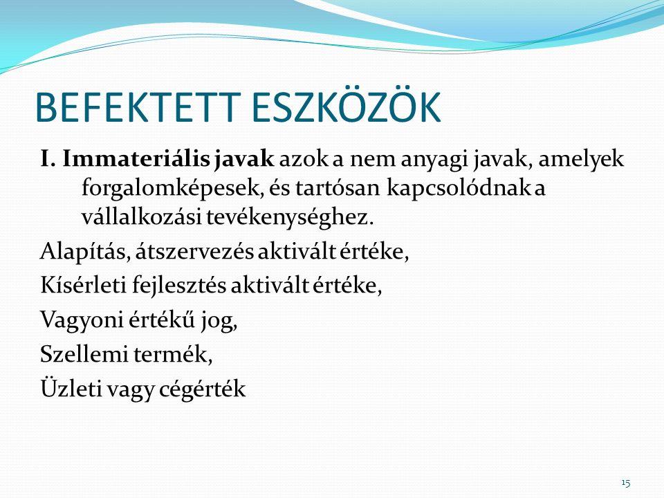 BEFEKTETT ESZKÖZÖK I.