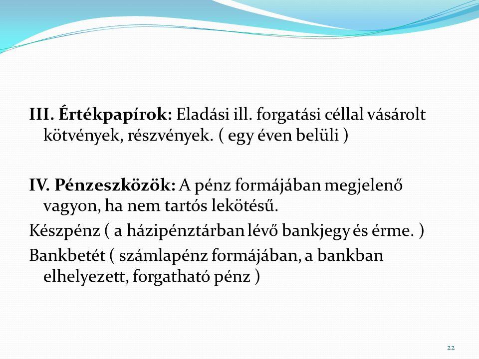 III. Értékpapírok: Eladási ill. forgatási céllal vásárolt kötvények, részvények.