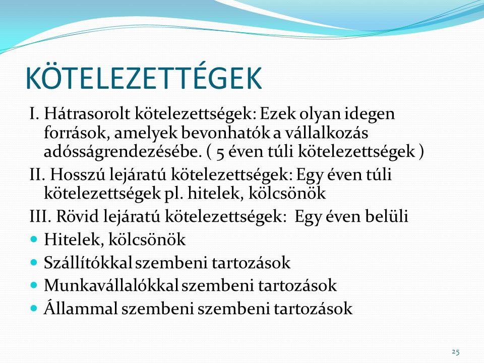 KÖTELEZETTÉGEK I.