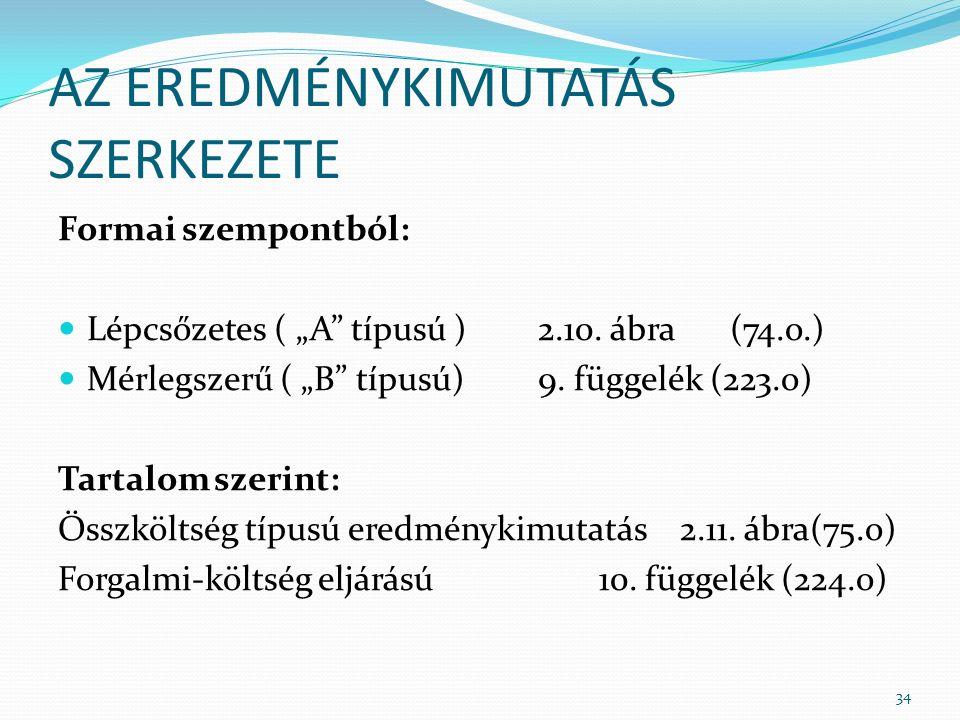 """AZ EREDMÉNYKIMUTATÁS SZERKEZETE Formai szempontból: Lépcsőzetes ( """"A típusú )2.10."""