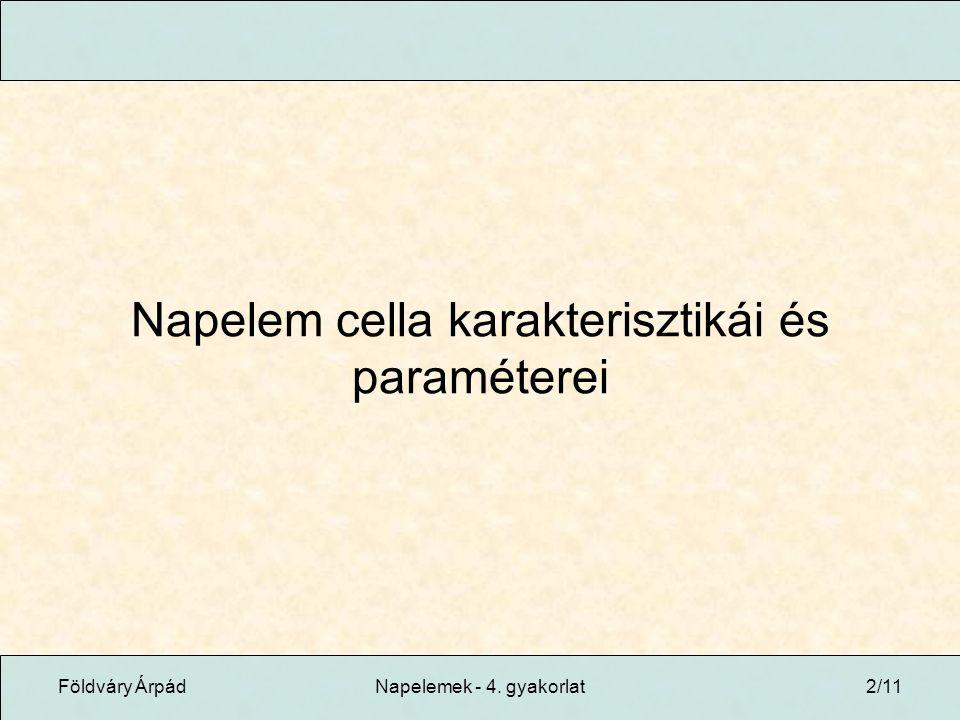 Földváry ÁrpádNapelemek - 4. gyakorlat2/11 Napelem cella karakterisztikái és paraméterei