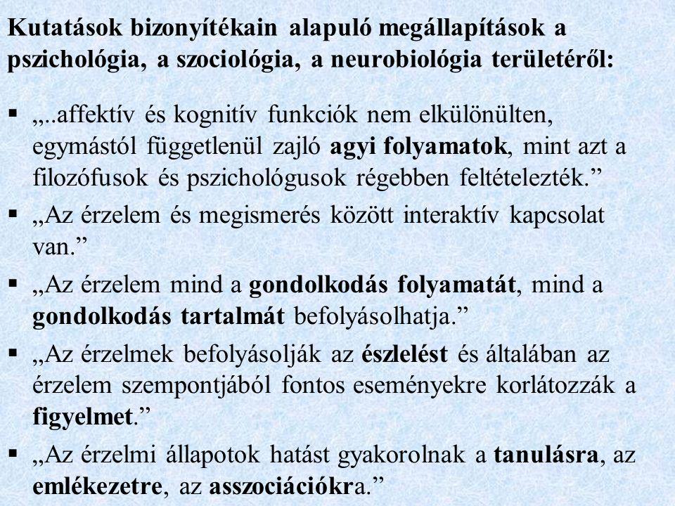 """Kutatások bizonyítékain alapuló megállapítások a pszichológia, a szociológia, a neurobiológia területéről:  """"..affektív és kognitív funkciók nem elkülönülten, egymástól függetlenül zajló agyi folyamatok, mint azt a filozófusok és pszichológusok régebben feltételezték.  """"Az érzelem és megismerés között interaktív kapcsolat van.  """"Az érzelem mind a gondolkodás folyamatát, mind a gondolkodás tartalmát befolyásolhatja.  """"Az érzelmek befolyásolják az észlelést és általában az érzelem szempontjából fontos eseményekre korlátozzák a figyelmet.  """"Az érzelmi állapotok hatást gyakorolnak a tanulásra, az emlékezetre, az asszociációkra."""