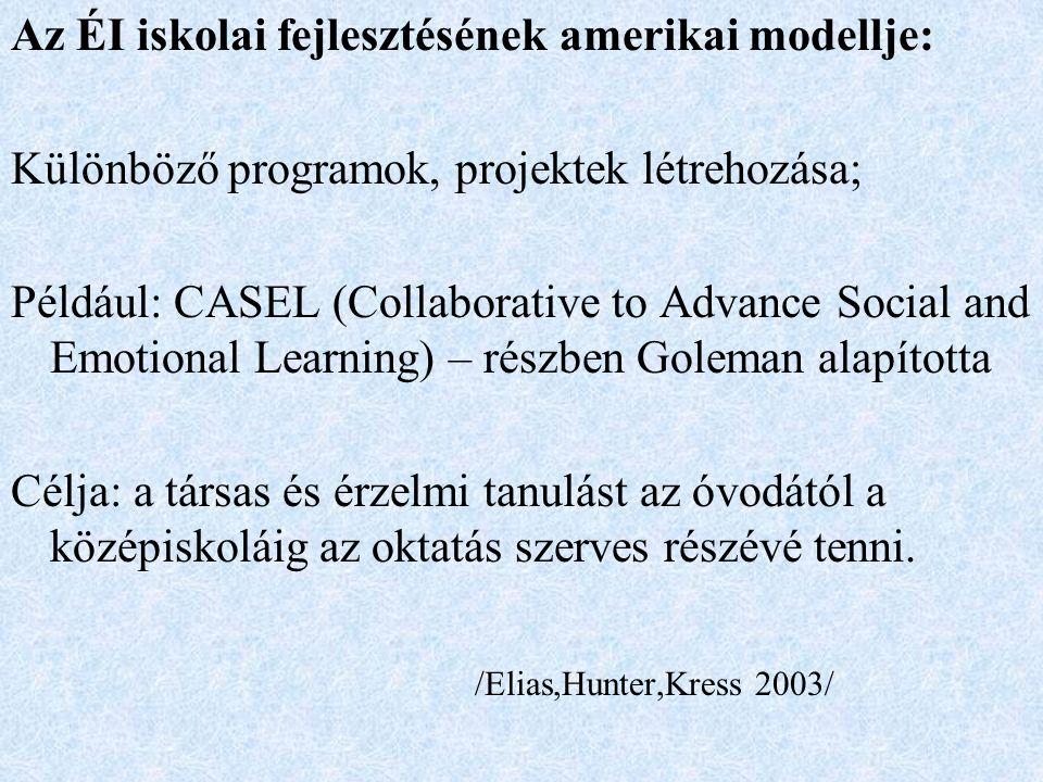 Az ÉI iskolai fejlesztésének amerikai modellje: Különböző programok, projektek létrehozása; Például: CASEL (Collaborative to Advance Social and Emotional Learning) – részben Goleman alapította Célja: a társas és érzelmi tanulást az óvodától a középiskoláig az oktatás szerves részévé tenni.