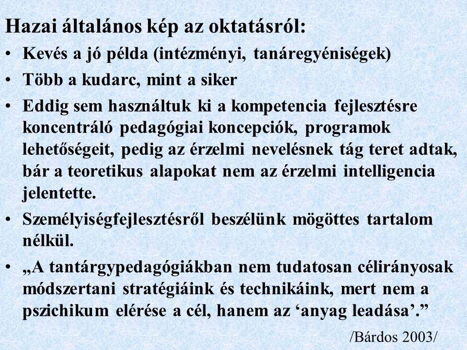 Hazai általános kép az oktatásról: Kevés a jó példa (intézményi, tanáregyéniségek) Több a kudarc, mint a siker Eddig sem használtuk ki a kompetencia fejlesztésre koncentráló pedagógiai koncepciók, programok lehetőségeit, pedig az érzelmi nevelésnek tág teret adtak, bár a teoretikus alapokat nem az érzelmi intelligencia jelentette.
