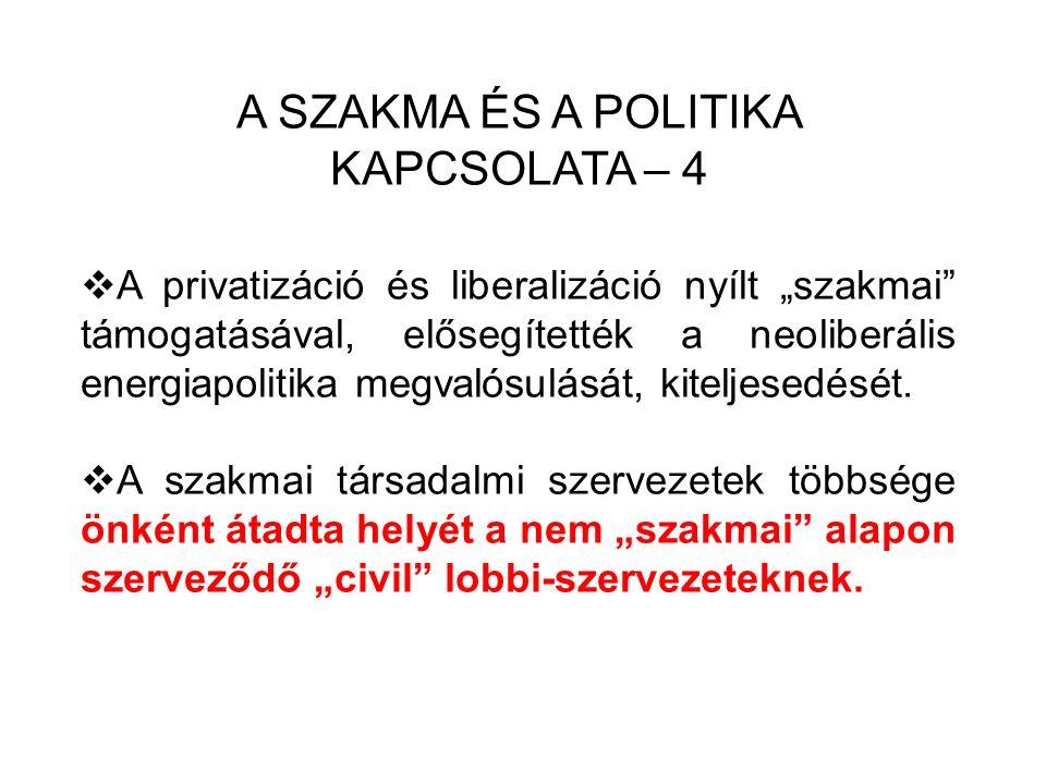 """A SZAKMA ÉS A POLITIKA KAPCSOLATA – 4  A privatizáció és liberalizáció nyílt """"szakmai támogatásával, elősegítették a neoliberális energiapolitika megvalósulását, kiteljesedését."""