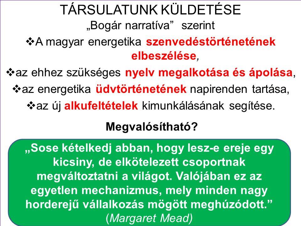 """12 TÁRSULATUNK KÜLDETÉSE """"Bogár narratíva szerint  A magyar energetika szenvedéstörténetének elbeszélése,  az ehhez szükséges nyelv megalkotása és ápolása,  az energetika üdvtörténetének napirenden tartása,  az új alkufeltételek kimunkálásának segítése."""
