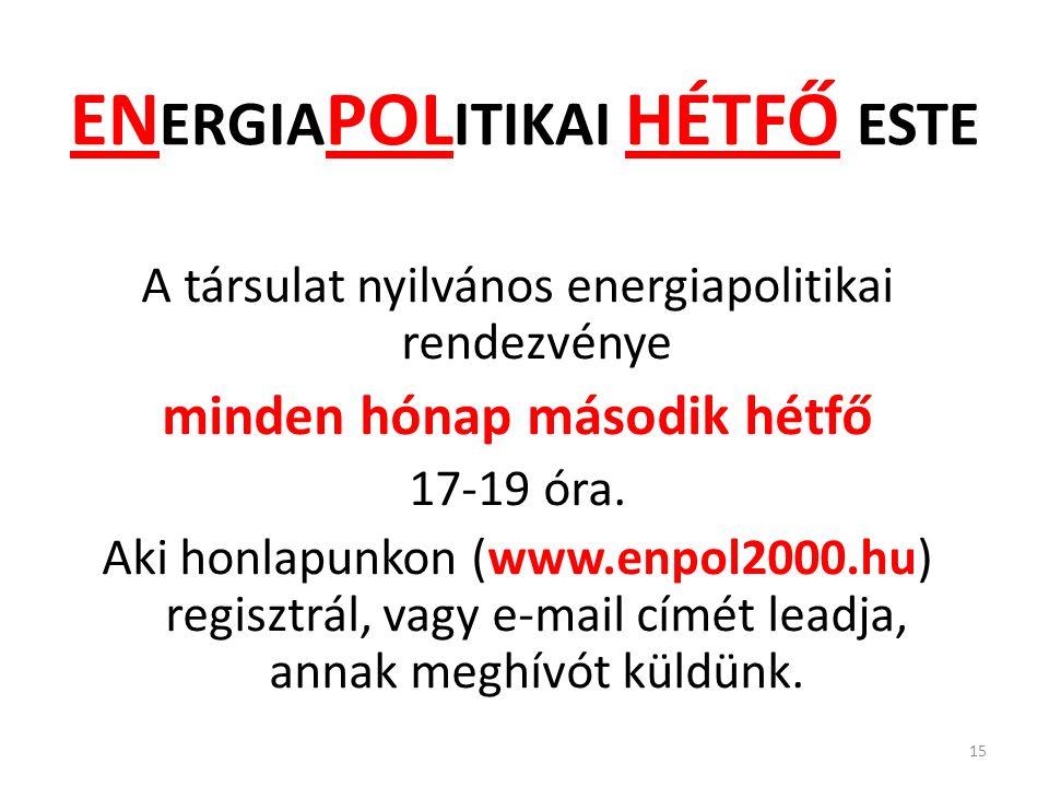 EN ERGIA POL ITIKAI HÉTFŐ ESTE A társulat nyilvános energiapolitikai rendezvénye minden hónap második hétfő 17-19 óra.