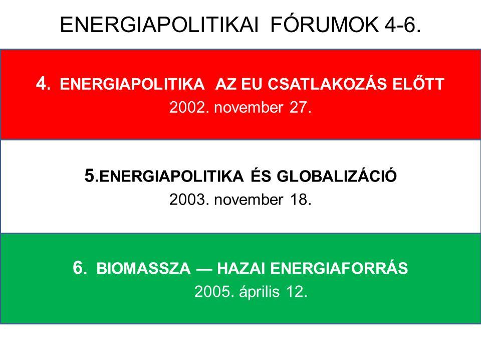 1.ENERGIA ÉS TÁRSADALOM AZ EZREDFORDULÓ 4. ENERGIAPOLITIKA AZ EU CSATLAKOZÁS ELŐTT 2002.