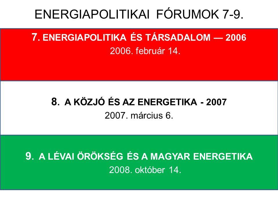 7. ENERGIAPOLITIKA ÉS TÁRSADALOM — 2006 2006. február 14. 8. A KÖZJÓ ÉS AZ ENERGETIKA - 2007 2007. március 6. 9. A LÉVAI ÖRÖKSÉG ÉS A MAGYAR ENERGETIK