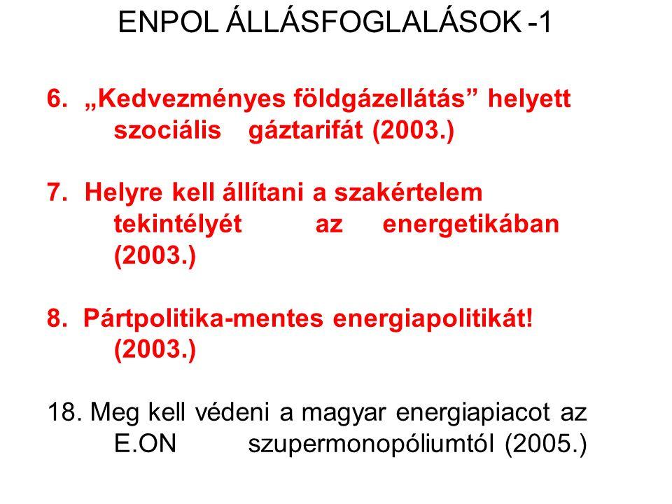 """6.""""Kedvezményes földgázellátás helyett szociális gáztarifát (2003.) 7.Helyre kell állítani a szakértelem tekintélyét az energetikában (2003.) 8."""