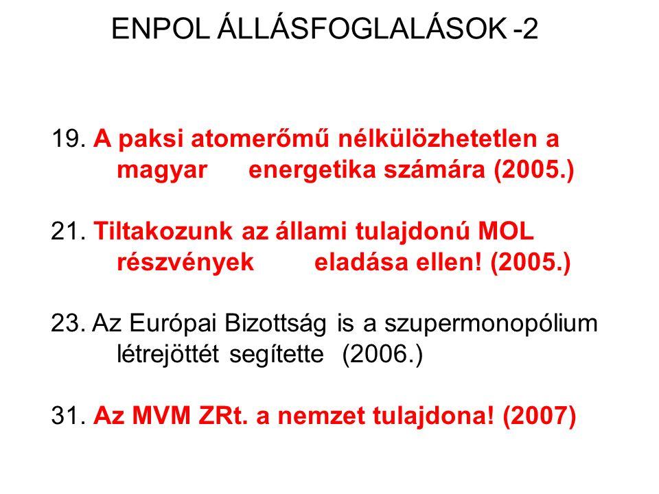ENPOL ÁLLÁSFOGLALÁSOK -2 19. A paksi atomerőmű nélkülözhetetlen a magyar energetika számára (2005.) 21. Tiltakozunk az állami tulajdonú MOL részvények