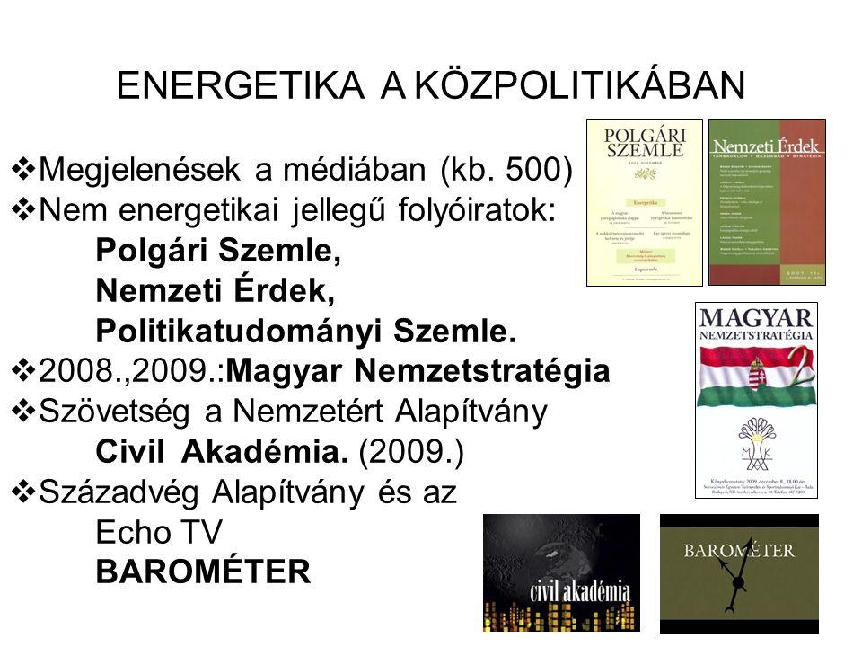 ENERGETIKA A KÖZPOLITIKÁBAN  Megjelenések a médiában (kb. 500)  Nem energetikai jellegű folyóiratok: Polgári Szemle, Nemzeti Érdek, Politikatudomány