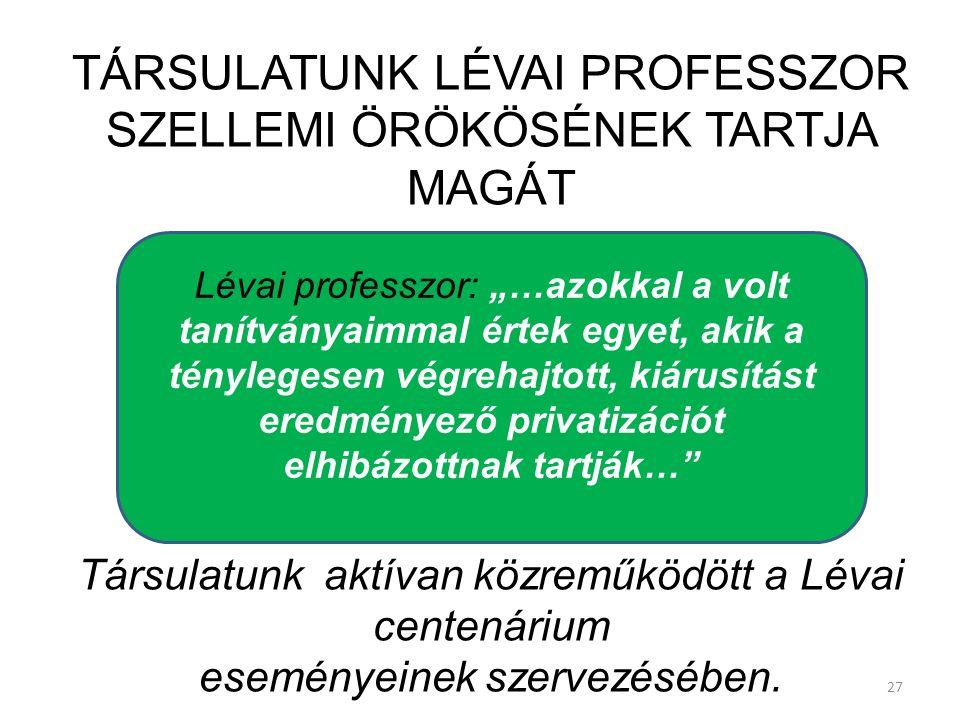 TÁRSULATUNK LÉVAI PROFESSZOR SZELLEMI ÖRÖKÖSÉNEK TARTJA MAGÁT Társulatunk aktívan közreműködött a Lévai centenárium eseményeinek szervezésében. 27 Lév