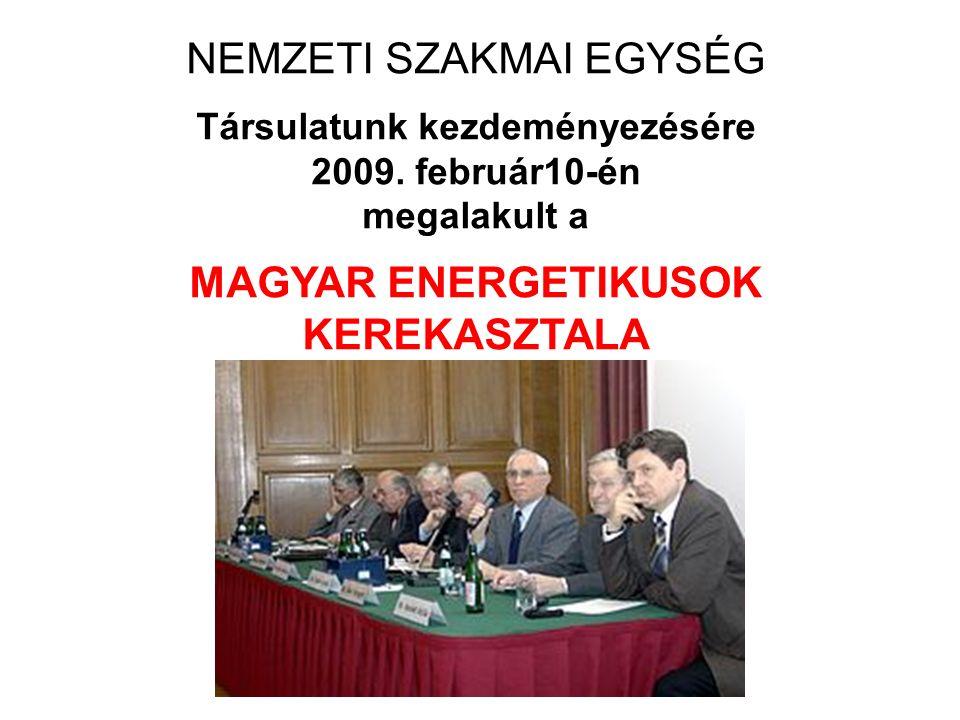 NEMZETI SZAKMAI EGYSÉG Társulatunk kezdeményezésére 2009. február10-én megalakult a MAGYAR ENERGETIKUSOK KEREKASZTALA