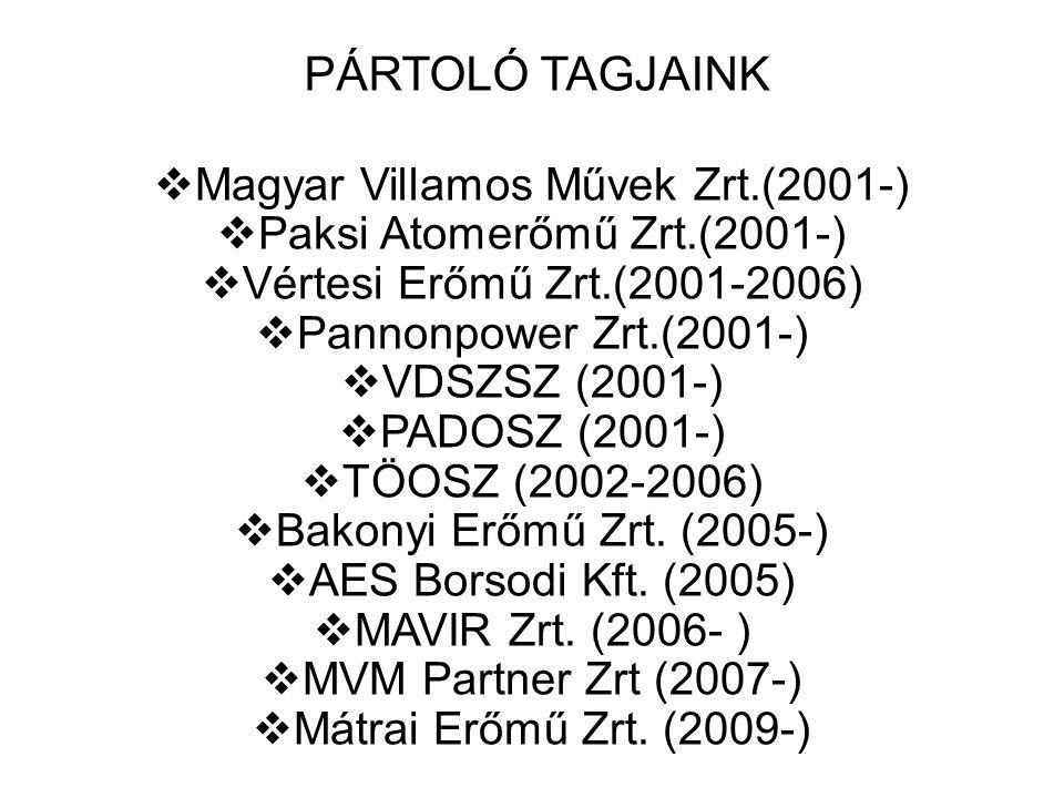 32 PÁRTOLÓ TAGJAINK  Magyar Villamos Művek Zrt.(2001-)  Paksi Atomerőmű Zrt.(2001-)  Vértesi Erőmű Zrt.(2001-2006)  Pannonpower Zrt.(2001-)  VDSZSZ (2001-)  PADOSZ (2001-)  TÖOSZ (2002-2006)  Bakonyi Erőmű Zrt.