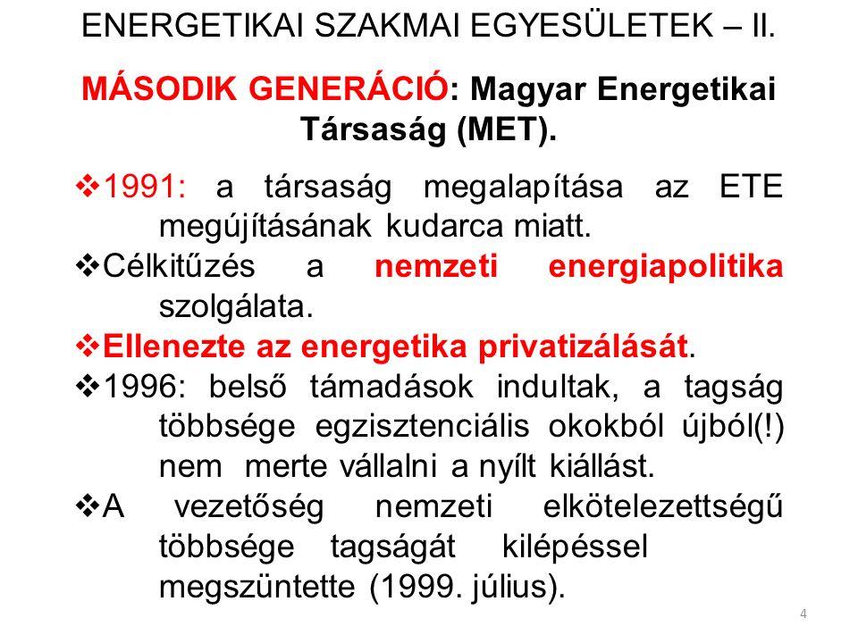 4 ENERGETIKAI SZAKMAI EGYESÜLETEK – II. MÁSODIK GENERÁCIÓ: Magyar Energetikai Társaság (MET).  1991: a társaság megalapítása az ETE megújításának kud