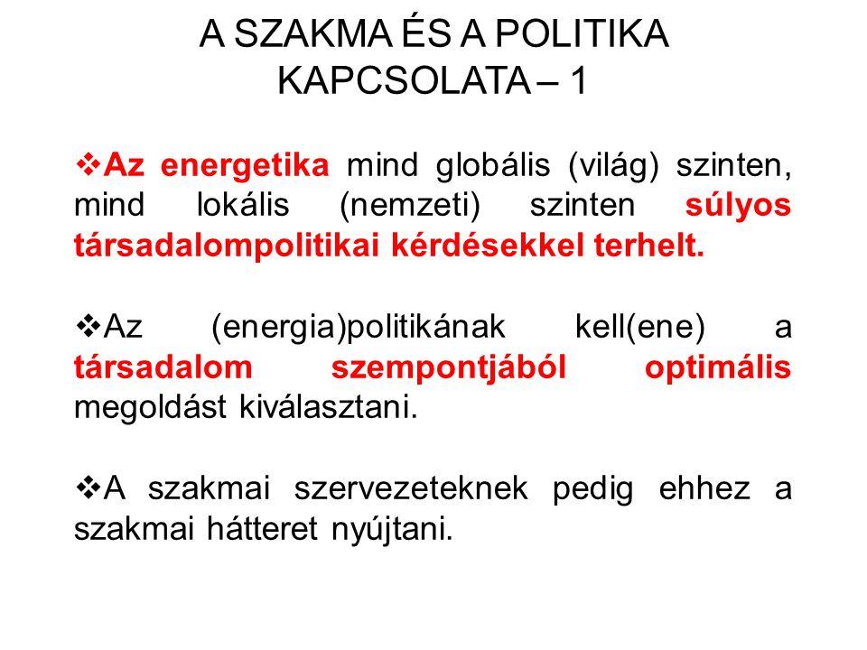 A SZAKMA ÉS A POLITIKA KAPCSOLATA – 1  Az energetika mind globális (világ) szinten, mind lokális (nemzeti) szinten súlyos társadalompolitikai kérdésekkel terhelt.
