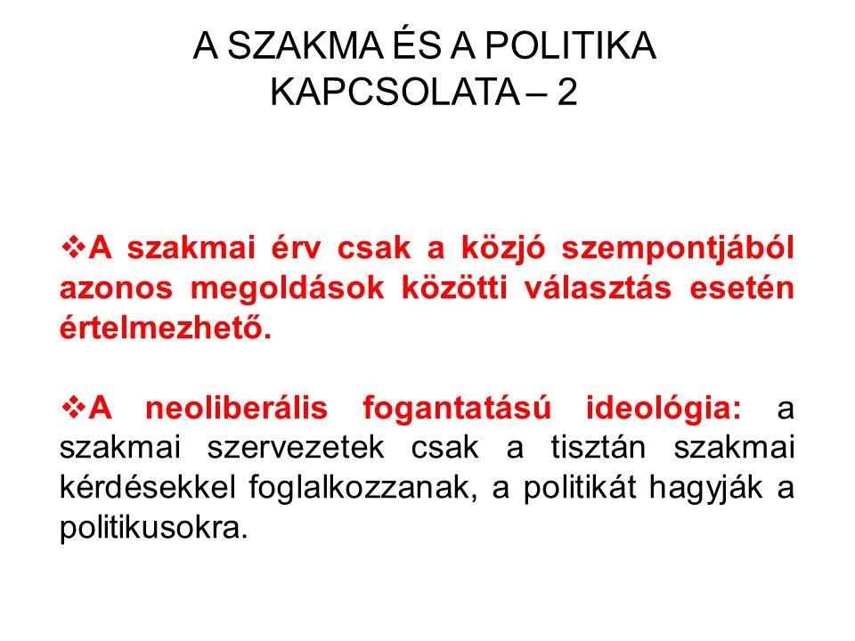A SZAKMA ÉS A POLITIKA KAPCSOLATA – 2  A szakmai érv csak a közjó szempontjából azonos megoldások közötti választás esetén értelmezhető.  A neoliber