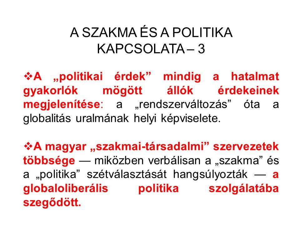 """A SZAKMA ÉS A POLITIKA KAPCSOLATA – 3  A """"politikai érdek mindig a hatalmat gyakorlók mögött állók érdekeinek megjelenítése: a """"rendszerváltozás óta a globalitás uralmának helyi képviselete."""