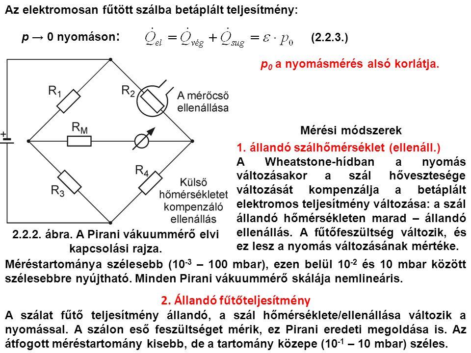 2.2.2. ábra. A Pirani vákuummérő elvi kapcsolási rajza. Mérési módszerek 1. állandó szálhőmérséklet (ellenáll.) A Wheatstone-hídban a nyomás változása