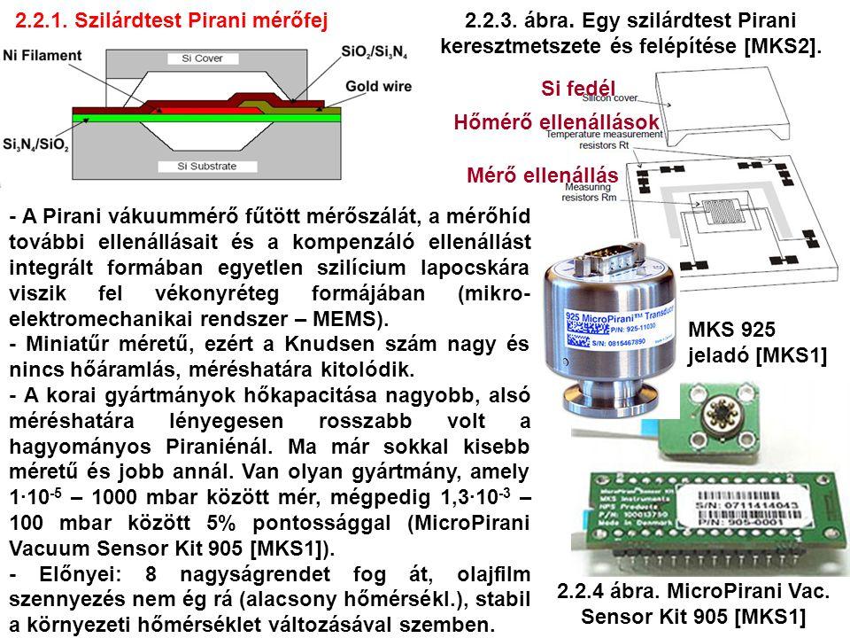 2.2.1. Szilárdtest Pirani mérőfej 2.2.3. ábra. Egy szilárdtest Pirani keresztmetszete és felépítése [MKS2]. - A Pirani vákuummérő fűtött mérőszálát, a