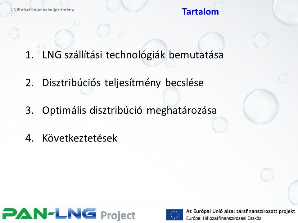 1.LNG szállítási technológiák bemutatása 2.Disztribúciós teljesítmény becslése 3.Optimális disztribúció meghatározása 4.Következtetések LNG disztribúciós teljesítmény Tartalom