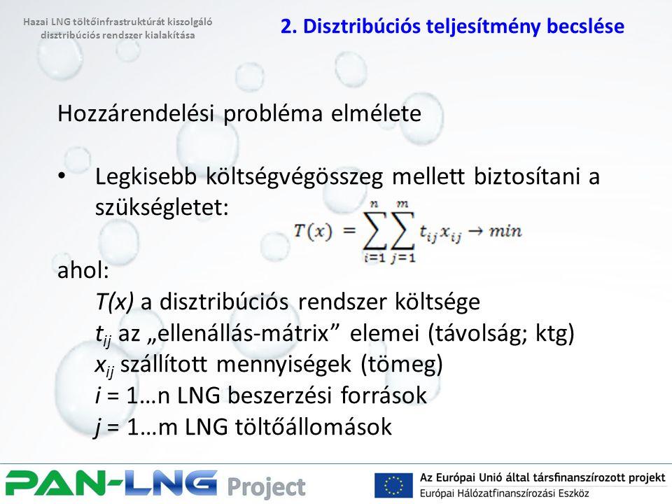 """Hozzárendelési probléma elmélete Legkisebb költségvégösszeg mellett biztosítani a szükségletet: ahol: T(x) a disztribúciós rendszer költsége t ij az """"ellenállás-mátrix elemei (távolság; ktg) x ij szállított mennyiségek (tömeg) i = 1…n LNG beszerzési források j = 1…m LNG töltőállomások 2."""