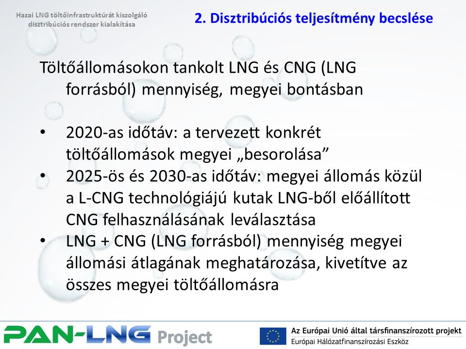 """Töltőállomásokon tankolt LNG és CNG (LNG forrásból) mennyiség, megyei bontásban 2020-as időtáv: a tervezett konkrét töltőállomások megyei """"besorolása"""""""