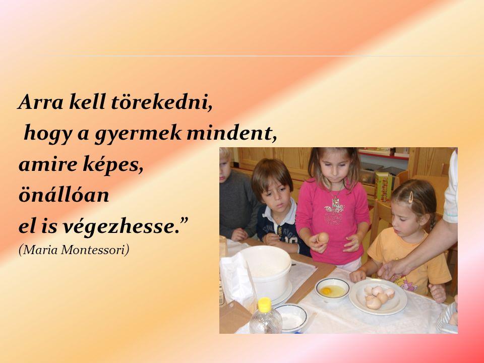 Arra kell törekedni, hogy a gyermek mindent, amire képes, önállóan el is végezhesse. (Maria Montessori)