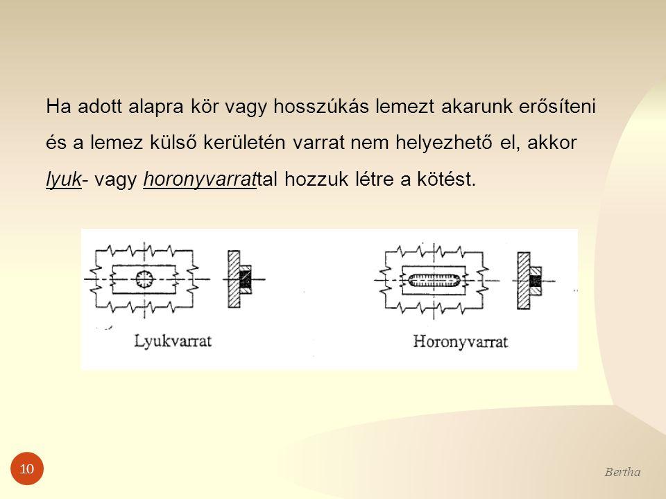 10 Bertha Ha adott alapra kör vagy hosszúkás lemezt akarunk erősíteni és a lemez külső kerületén varrat nem helyezhető el, akkor lyuk- vagy horonyvarr
